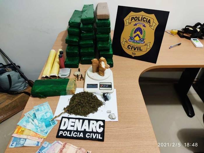 Em Araguaína, Polícia Civil apreende mais de 20 kg  de drogas e quatro traficantes