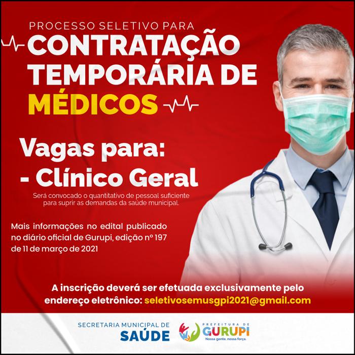 Prefeitura de Gurupi abre inscrições para contratação temporária de médicos
