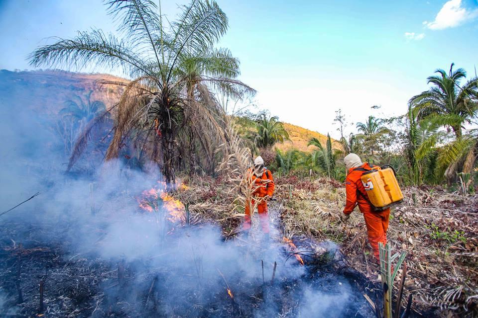 Força-tarefa mantém combate a incêndio florestal na Serra do Lajeado